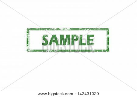 Rubber stamp with word sample inside, grunge green stamp