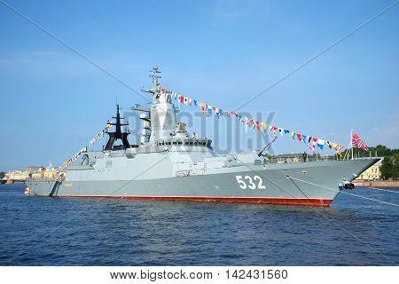 ST. PETERSBURG RUSSIA - JULY 28 2016: Missile Corvette