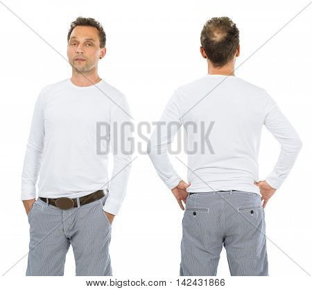 Photo of a man posing with a blank white long sleeve shirt ready for your artwork or design.