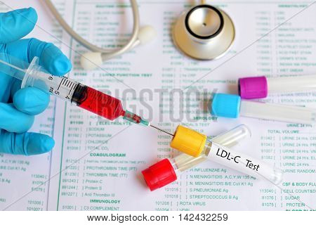 Test tube with blood sample for LDL-Cholesterol (LDL-C) test