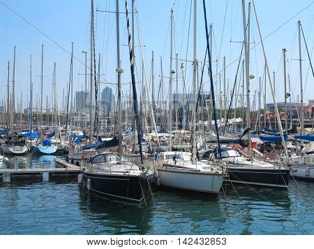 Barcelona Spain 05 july 2016:: Luxury sail yachts in the sea port.