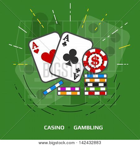 Flat illustration of gambling against green background. Flat design of playing cards and casino chips. Vector image about game of chance, poker, casino, luck, betting, jackpot, gambling, hazard, etc