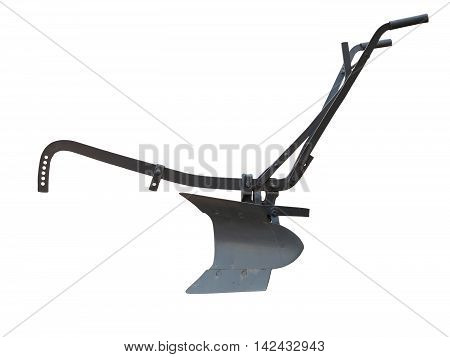 Agricultural old manual plow isolated over white background