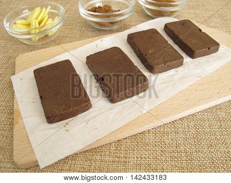 Homemade sugar free coffee carob chocolate bars