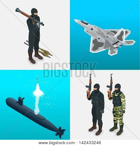 Isometric icons submarine, aircraft, tanks, soldiers. Flat 3d high quality military vehicles machinery transport