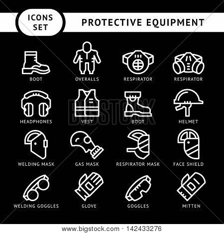 Set line icons of protecting equipment isolated on black. Vector illustration