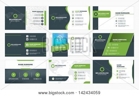 Set Of Modern Business Card Print Templates. Personal Visiting Card With Company Logo. Vector Illust