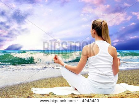 Young beautiful women in white, relaxation on the sunny tropical beach