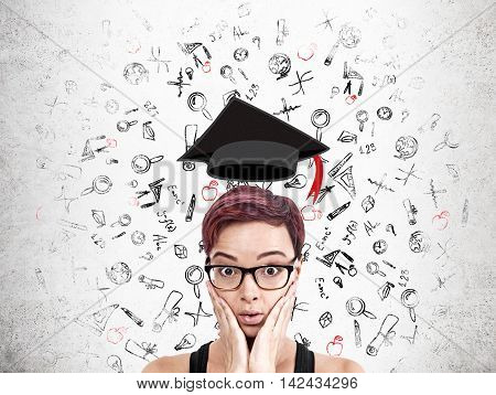 Woman confused before graduation and starting new adult life paying student loan. Concept of higher education and its opportunities.