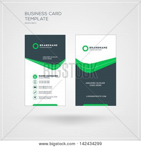 Vertical Business Card Print Template. Personal Visiting Card With Company Logo. Black And Green Col