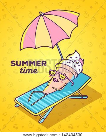 Vector colorful illustration of character ice cream with glasses lying on sun lounger and sunbathe on yellow background. Summer time concept. Flat style hand drawn line art design of ice cream for card poster