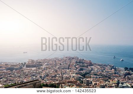 Napoli italian city aerial view in a sunny day on summer
