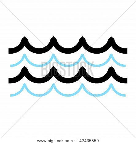 Nature waves horizontally waves design nature decoration, creative wet blue waves. Sea waves ocean abstract element nature flat vector illustration.