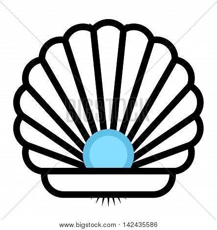 Sea shell outline flat sea clams vector illustration. Snail aquarium underwater shape cartoon clams. Coral marine cartoon clams cute tropical graphic art. Marine water ocean seashell