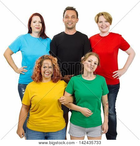 Photo of five people wearing blue black red gold and green blank t-shirts. Ready for your design or artwork.