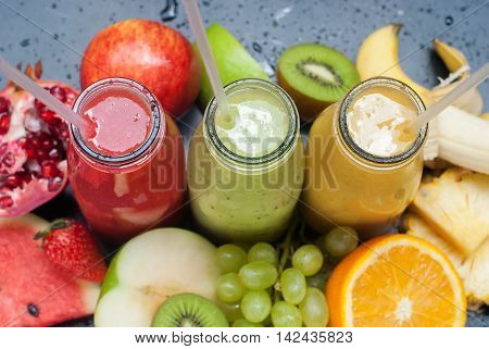 Smoothie Red Green Yellow Tropical Fruits Top View