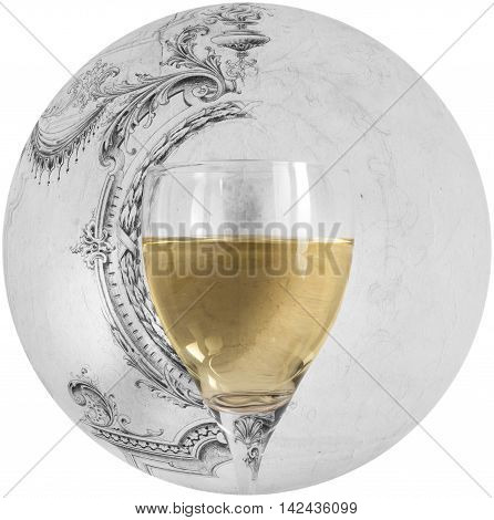 glass of white wine on background decorated with drawing free hand, natural light,vertical photo, front view ,close up with clipping, distortion ball