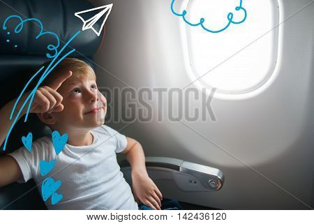 Portrait Boy Airplane Window Drawing Travel Concept