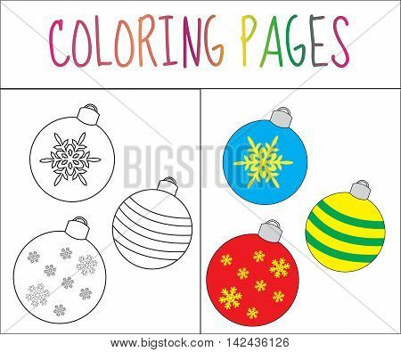 Coloring book page toys balls New Year. Sketch and color version. Coloring for kids. Vector illustration