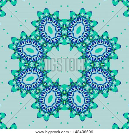 Abstract geometric seamless vintage background. Ornate round ornament with elliptical elements in blue shades and mint green on light gray with mint dots.