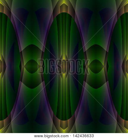 Abstract geometric seamless dark background. Regular ellipses and diamond pattern in dark green, purple and brown shades, shiny and dreamy.