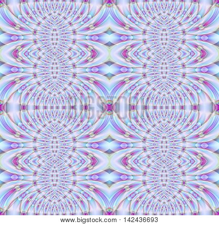Abstract geometric seamless shiny background. Ornate ellipses and diamond pattern in pink, violet, purple and light blue shades, extensive and dreamy.