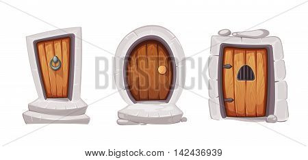 vector Illustration set of cartoon medieval entrance doors from wood. Pictures for 2D game design. Various forms. Isolate on white background