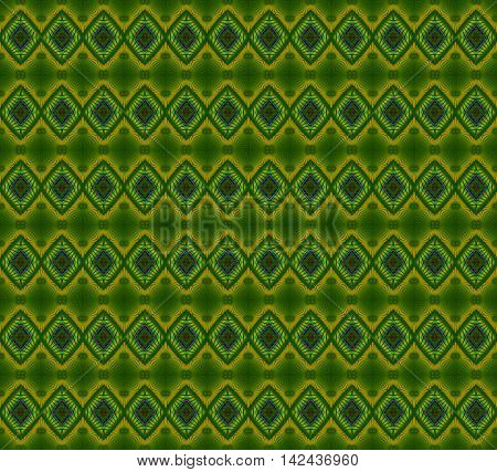 Abstract geometric seamless background. Regular diamond pattern in green shades with elements in yellow, violet, blue and purple and green circles.