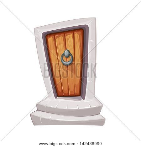 vector Illustration of cartoon medieval entrance door with door knocker. Wood material. Porch with two stone steps. Picture for 2D game design. Isolate on white background