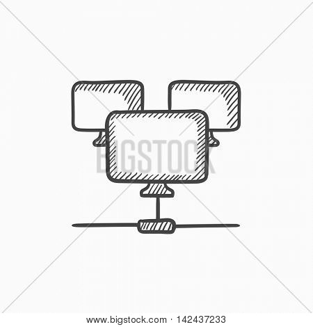 Computer network vector sketch icon isolated on background. Hand drawn Computer network icon. Computer network sketch icon for infographic, website or app.
