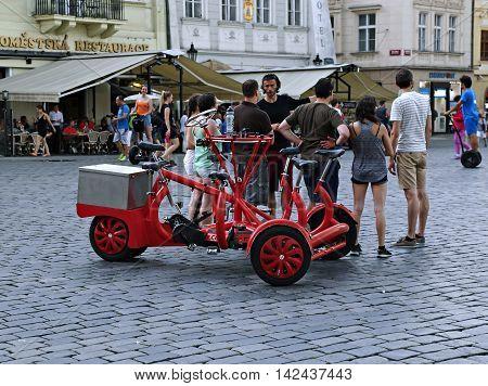 PRAGUE, CZECH REPUBLIC - JUNE 25, 2016: Attraction seven-seat bike (bicycle bus)