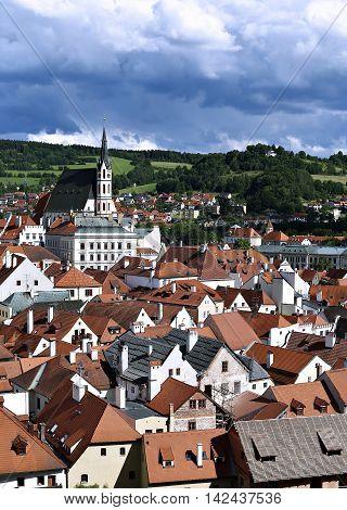 CESKY KRUMLOV, CZECH REPUBLIC - JUNE 18, 2016: Top view of Cesky Krumlov Czech Republic