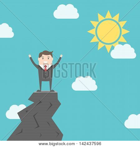 Happy triumphant man standing on top of rock above clouds on blue sky background with sun. Success achievement and goal concept. EPS 8 vector illustration no transparency