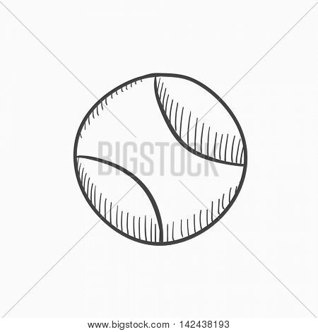 Tennis ball vector sketch icon isolated on background. Hand drawn Tennis ball icon. Tennis ball sketch icon for infographic, website or app.