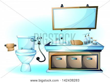 Cartoon Vector Illustration Interior Toilet Object
