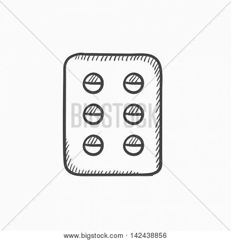 Plate of pills vector sketch icon isolated on background. Hand drawn Plate of pills icon. Plate of pills sketch icon for infographic, website or app.