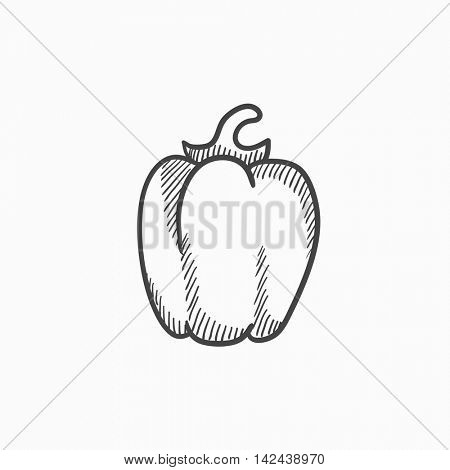 Bell pepper vector sketch icon isolated on background. Hand drawn Bell pepper icon. Bell pepper sketch icon for infographic, website or app.