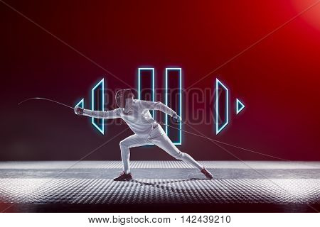 Fencing player isolated on the black red gradient background. Start and pause buttons. Start and stop fight concept