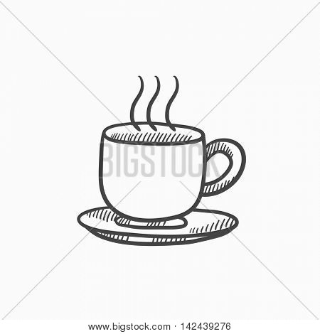Cup of hot drink vector sketch icon isolated on background. Hand drawn Cup of hot drink icon. Cup of hot drink sketch icon for infographic, website or app.
