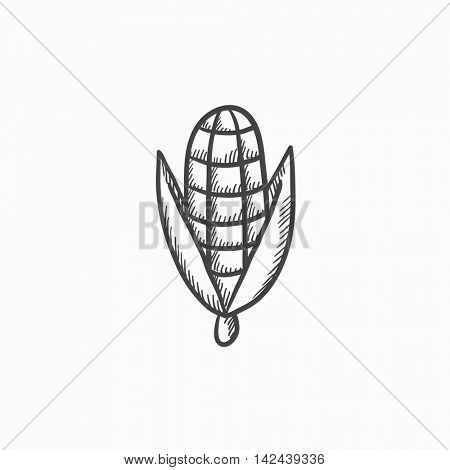 Corn vector sketch icon isolated on background. Hand drawn Corn icon. Corn sketch icon for infographic, website or app.