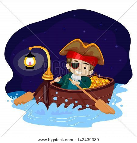 Vector Illustration of Pirate Kid on Boat at Night
