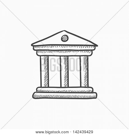 Museum vector sketch icon isolated on background. Hand drawn Museum icon. Museum sketch icon for infographic, website or app.