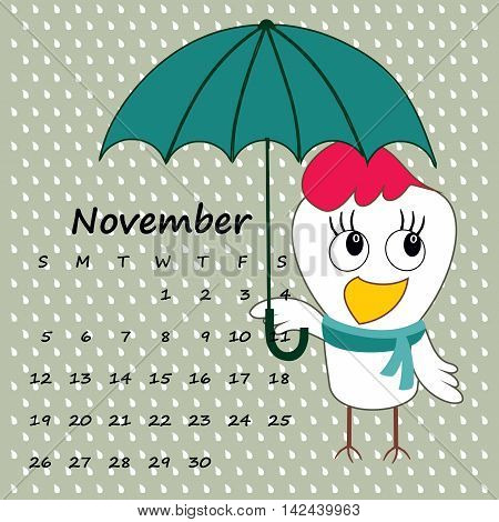 Calendar For November 2017 With The Rooster - Symbol Of The Year.