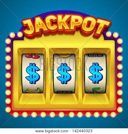 Gold slot machine illustration. Eps10 vector illustration.