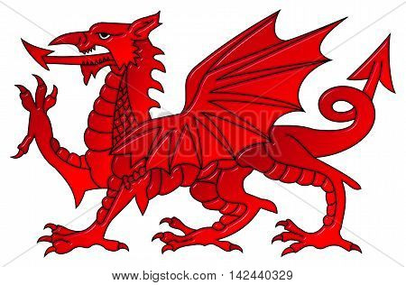 Welsh dragon 3D illustration with a bevel effect on an isolated white background with a clipping path