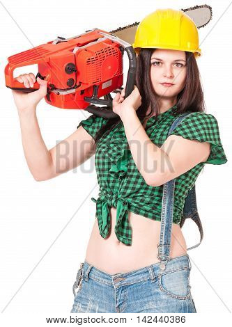 Young woman with gasoline-powered chainsaw on white background close-up