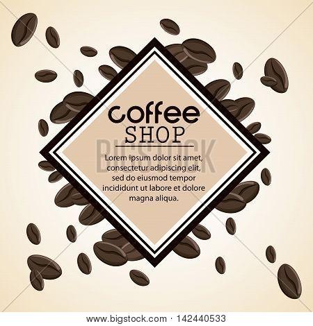 Coffee bean frame shop beverage icon. drink and break time design, vector illustration