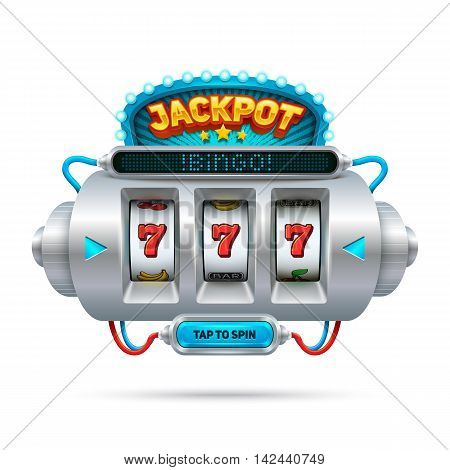 Futuristic slot machine illustration, isolated on white background.