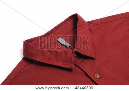 Red plain cotton male shirt White background.