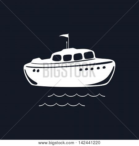 Lifeboat Isolated on Black Background, Marine Rescue Vessel ,Vector Illustration